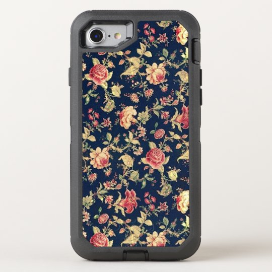 Elegant Vintage Blue Rose Floral OtterBox Defender iPhone