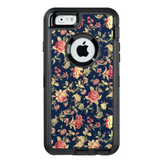 Elegant Vintage Blue Rose Floral OtterBox Defender iPhone Case