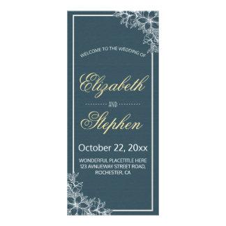 Elegant Vintage Blue White Floral Wedding Program Rack Card