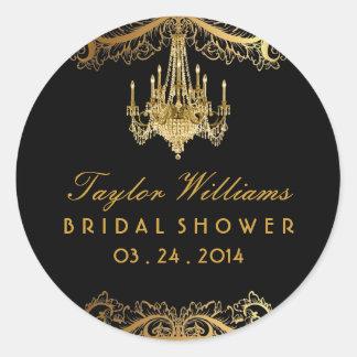 Elegant Vintage Chandelier Bridal Shower Sticker
