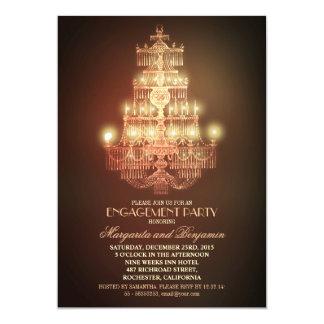 elegant vintage chandelier engagement party invite