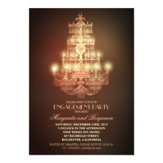 elegant vintage chandelier engagement party invite