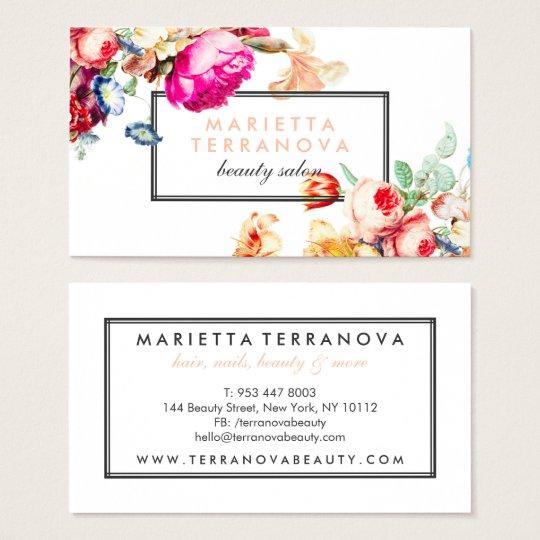 Elegant vintage chic floral striped beauty salon business