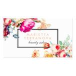 Elegant vintage chic floral striped beauty salon pack of standard business cards