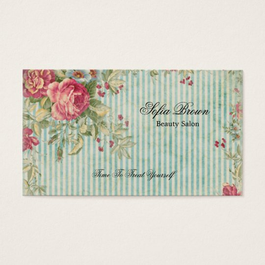 Elegant vintage chic pink floral stripes beauty business