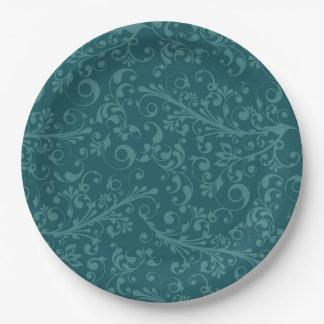 Elegant vintage christmas blue swirls 9 inch paper plate