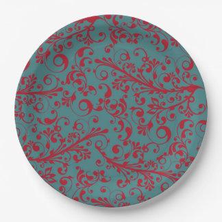 Elegant vintage christmas swirls 9 inch paper plate