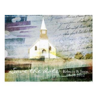 elegant vintage church chapel country savethedate postcards