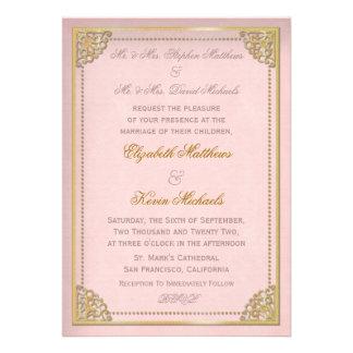 Elegant Vintage Cornice Pink Gold Tone Wedding Invitations