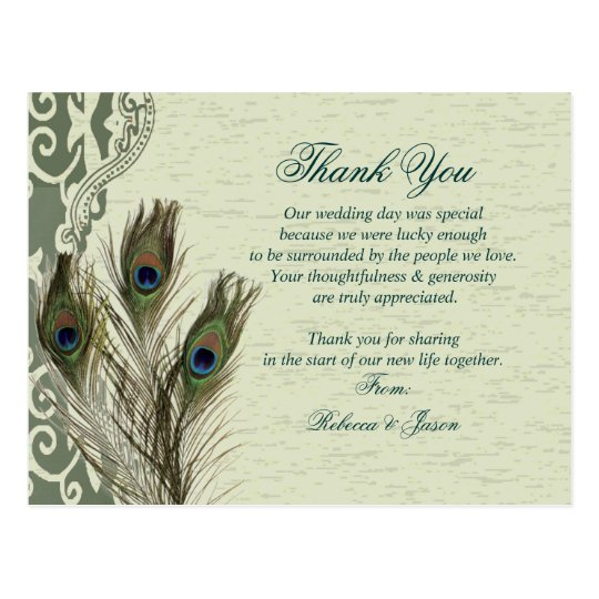 elegant vintage country green peacock thank you postcard