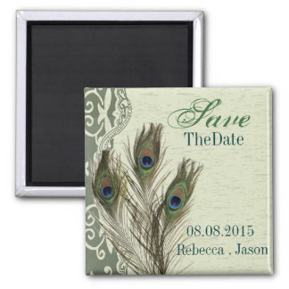 elegant vintage country peacock save the date magnet