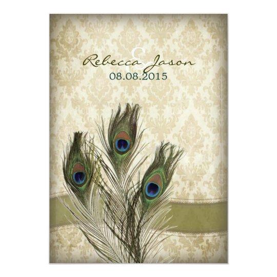 elegant vintage cream damask peacock wedding card