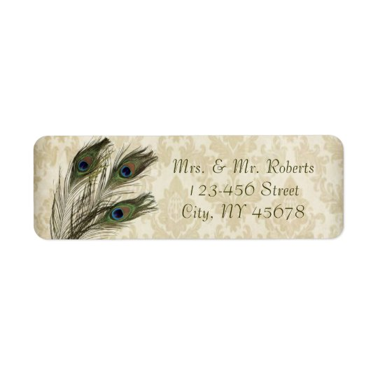 elegant vintage cream damask peacock wedding return address label