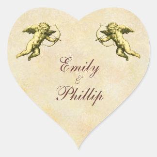 Elegant Vintage Cupid Heart Sticker