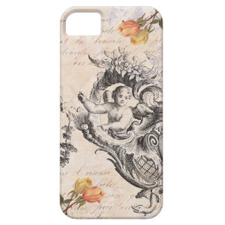 Elegant Vintage Cupid, Roses and Baroque Swirls Barely There iPhone 5 Case