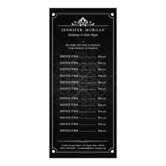 Elegant Vintage Damask Beauty Salon Price List Rack Card