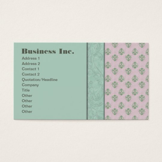 Elegant Vintage Damask Blue and Pink Business Card