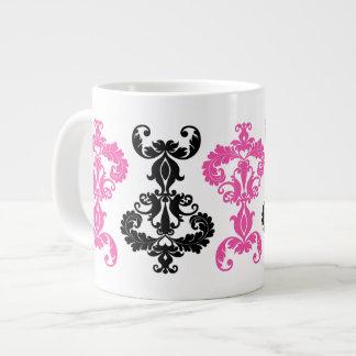 Elegant vintage damask in black and hot pink extra large mug