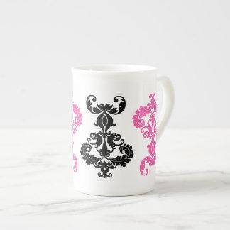 Elegant vintage damask in black and hot pink bone china mugs