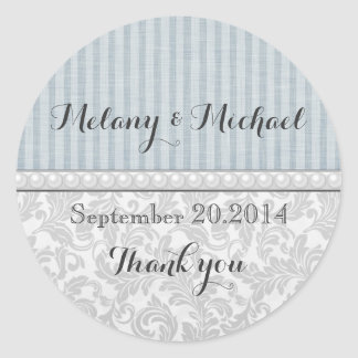 Elegant vintage damask romantic pearls thank you round stickers