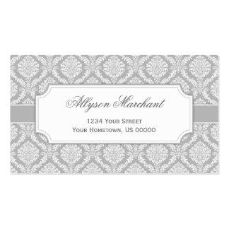 Elegant Vintage Damask Silver Grey and White Pack Of Standard Business Cards