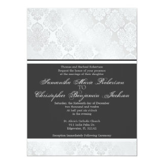 Elegant Vintage Damask Wedding Invite