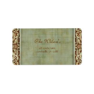 Elegant Vintage Damask Wedding Label Address 2 Address Label