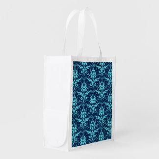 Elegant Vintage Dark Blue Turquoise Damask Pattern Reusable Grocery Bag