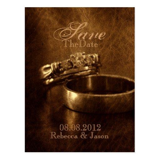 elegant vintage diamond rings wedding SaveThedate Post Card