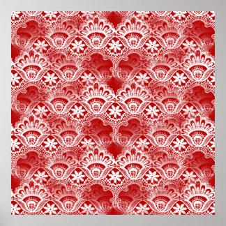 Elegant Vintage Distressed Red White Lace Damask Poster