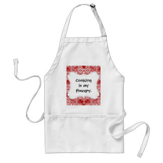 Elegant Vintage Distressed Red White Lace Damask Standard Apron