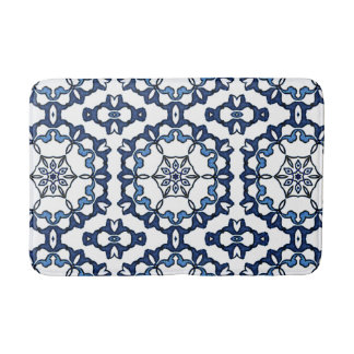 Elegant Vintage Dutch Delft Blue Floral Pattern Bath Mat