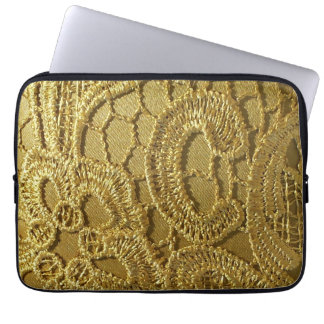 Elegant Vintage Fashion Gold Lace Laptop Sleeve