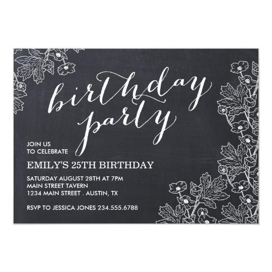 Elegant Vintage Floral Chalkboard Birthday Party Card