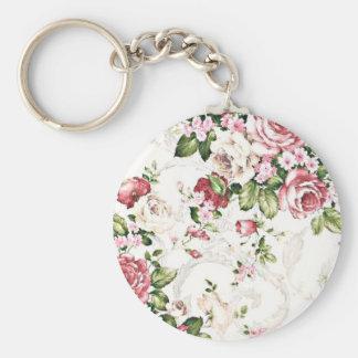 Elegant Vintage Floral Cottage Cream Rose Basic Round Button Key Ring