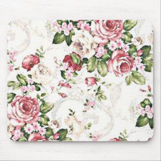 Elegant Vintage Floral Cottage Cream Rose Mouse Pad