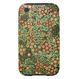 Elegant Vintage Floral Decorative Design iPhone 3 Tough Case