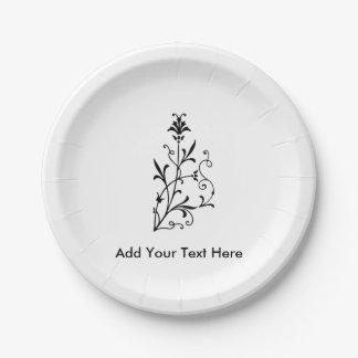 Elegant Vintage Floral Decorative Motif 7 Inch Paper Plate