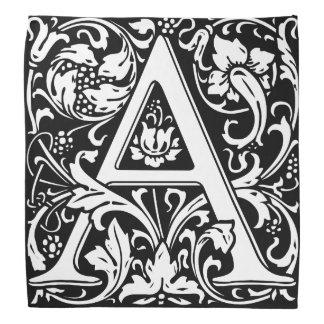 Elegant Vintage Floral Letter A Monogram Kerchiefs