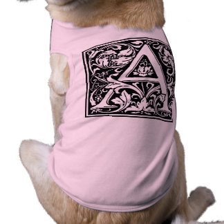 Elegant Vintage Floral Letter A Monogram Sleeveless Dog Shirt