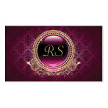Elegant Vintage Floral Monogram Gold and Purple Double-Sided Standard Business Cards (Pack Of 100)