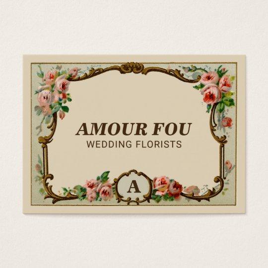 Elegant Vintage Floral Monogram Wedding Florist Business Card