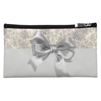 Elegant Vintage Floral Pattern-Gray Bow Cosmetic Bag