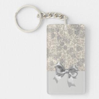 Elegant Vintage Floral Pattern-Gray Bow Key Ring