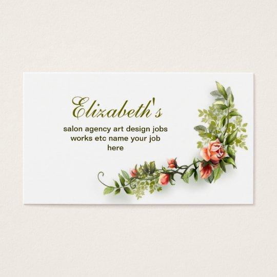elegant vintage floral pink white business card