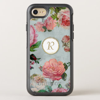 Elegant Vintage Floral Rose Beautiful Monogram OtterBox Symmetry iPhone 7 Case