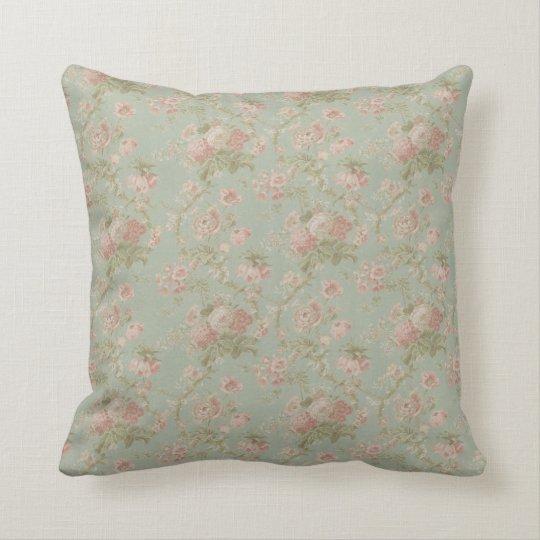 Elegant Vintage Floral Rose, Green & Pink Cushion