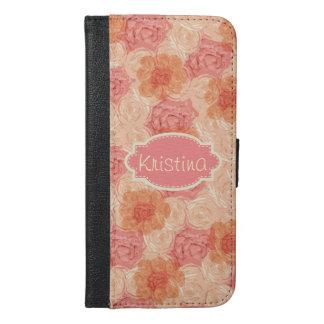 Elegant Vintage Floral Rose Pink Cream Name
