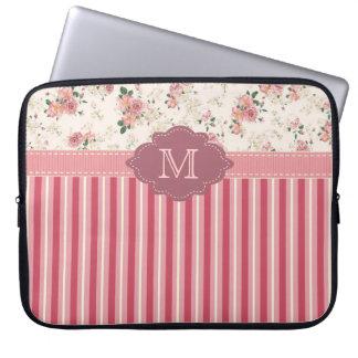 Elegant Vintage Floral Rose Pink Monogram Case Computer Sleeves