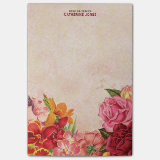 Elegant Vintage Floral | Vintage Paper | Colorful Post-it Notes